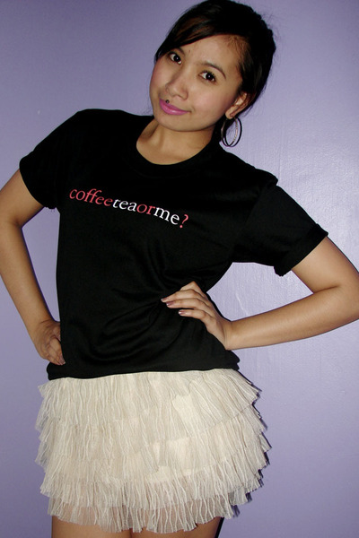 black from a coffee shop slash gallery shirt - white tutu random skirt