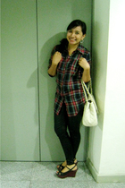 thrifted plaid shirt - Blacksheep leggings - Janylin shoes - Charles & Keith bag