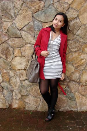 Zara dress - thrifted coat - Topshop tights - Charles & keith peep-toe boots - C