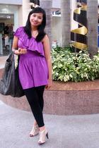 Blacksheep one-shouldered top - random tights - Janylin boots - mango bag access