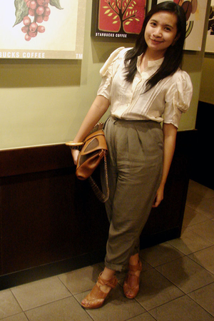 calvin klein blouse - thrifted pants - Charles & Keith purse - prp shoes