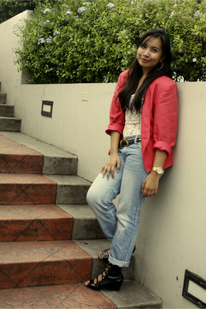 black The Ramp shoes - blue boyfriend thrift jeans - pink thrift blazer