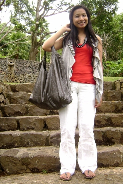 MNG tank top - MNG pants - thrifted ruffled cardigan top - PRP bag accessories