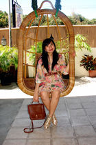 gold sandals from bangkok shoes - yellow chiffon floral thrift dress