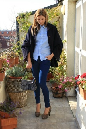 vintage coat - Zara jeans - DIY shirt - christian dior bag - Topshop heels