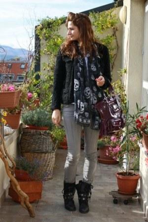 Alexander McQueen scarf - asos boots - Cheap Monday jeans - coach bag