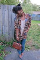 1980s thrifted vintage blazer - retro acid wash Forever 21 jeans