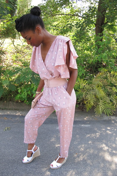 bubble gum thrifted vintage romper