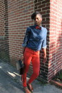 Denim-thrifted-shirt-thrifted-vintage-shoes-red-forever-21-jeans