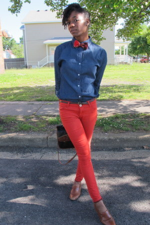 denim thrifted shirt - thrifted vintage shoes - red Forever 21 jeans