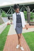 white oxfords shoes - white thrifted blazer - thrifted blouse - Forever 21 skirt