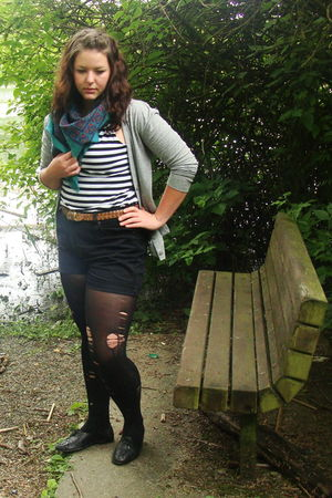 black Levis shorts - black shoes - green scarf - white shirt - Old Navy cardigan