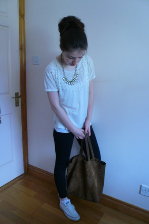 silver Primark necklace - white Converse shoes - black leggings - brown bag