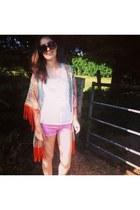 orange kimono fringed TK Maxx jacket - hot pink diy Primark shorts