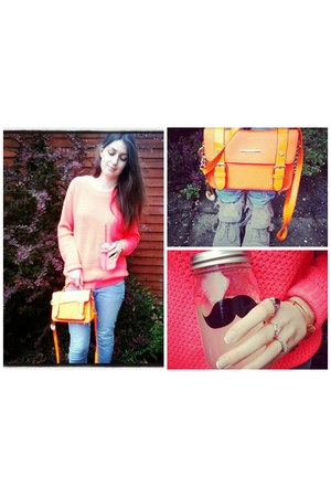 carrot orange neon Only jumper - heather gray Bershka boots