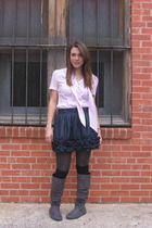 pink blouse - blue Forever21 skirt - gray Amazon boots - black