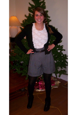 black cardigan - white blouse - gray Forever 21 shorts - black tights - black St