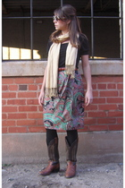 kohls scarf - black blouse - belt - skirt - boots
