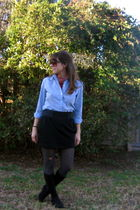 TOMS boots - black skirt - blouse - scarf - tights