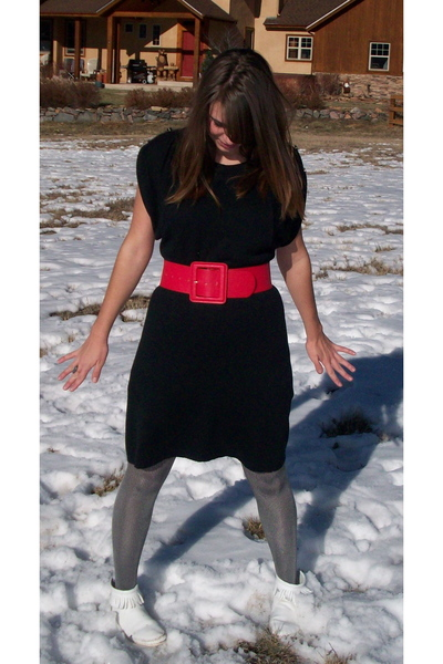 black Target dress - silver Target tights - red belt - white shoes