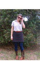 Old Navy blouse - boots - skirt - kohls tights - belt