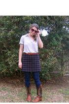 Old Navy blouse - boots - skirt - kohls tights - belt