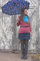 Forever 21 scarf - shirt - Old Navy skirt - tights - Amazon boots