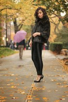 black Express coat - Zara pants - black Steve Madden pumps