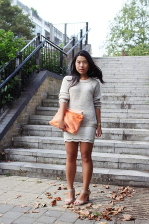 faux leather Ann Christine skirt - knit Zara sweater - asos bag