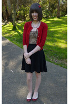 red Alannah Hill cardigan - periwinkle Lumiere necklace - camel Revival top
