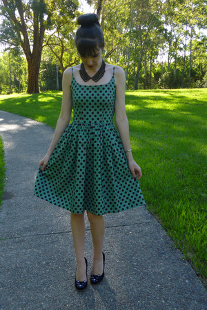black collar necklace Kmart necklace - green polka dot dress Dangerfield dress