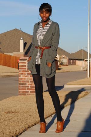 gray Forever 21 cardigan - white - American Apparel dress - brown belt - brown F