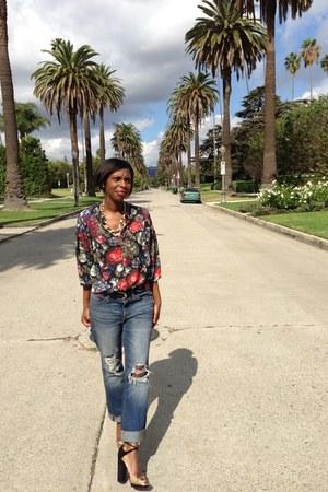 Urban Outfitters blouse - boyfriend jeans Zara jeans