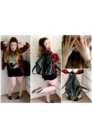 tank c&a top - ruby red flannel TJ Maxx shirt - TJ Maxx purse