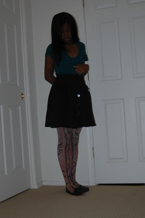 shirt - thrifted - shoes - Forever21 stockings