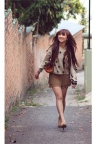 tan shoes - camel dress - tawny bag - beige blouse