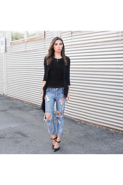 feather blazer Lucy Paris blazer - boyfriend jeans One Teaspoon jeans
