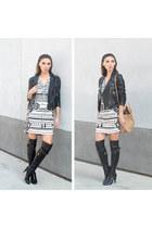 Marc Jacobs boots - print dress Hale Bob dress - came tote Oliveve bag