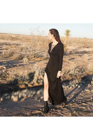 black ladila booties IRO boots - lace up dress Rachel Pally dress