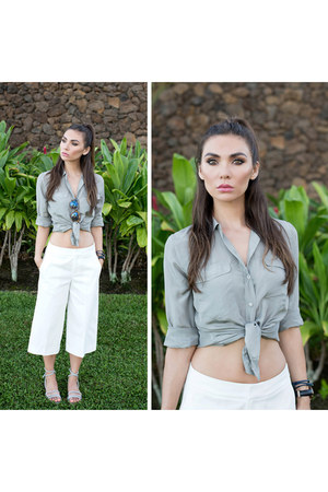 silk button up everlane top - culottes everlane pants
