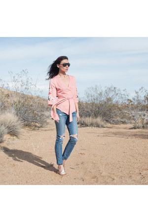 501 jeans Levis jeans - light pink kimono Skylar Belle top
