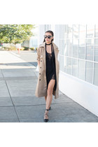 trench coat Lulus coat - Lulus dress - skinny scarf Nasty Gal scarf