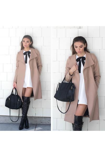 camel ted baker coat - black Marc Jacobs boots - white bow dress TFNC dress
