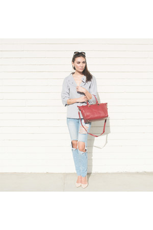 silver Kinross jacket - ripped jeans Boohoo jeans