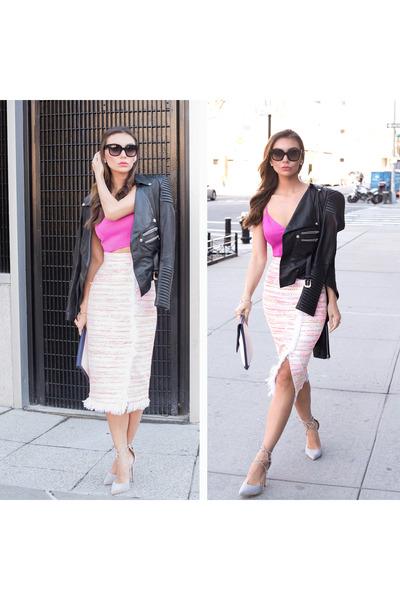 bubble gum tweed skirt ELENAREVA skirt - lace up shoes Lulus shoes