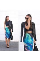 Ringuet skirt - front tie heels Dee Keller shoes - crop top American Apparel top
