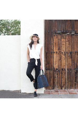 white front tie top Dynamite Clothing shirt - Eugenia Kim hat