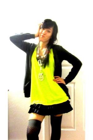 chartreuse Forever 21 shirt - black Forever 21 skirt - gray Macys socks - charco