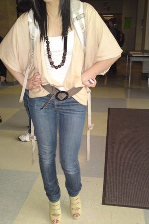 brown from japan necklace - beige Forever 21 cardigan - white Old Navy top - bro
