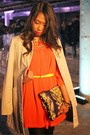 Carrot-orange-h-m-dress-black-target-tights-snakeskin-print-h-m-purse